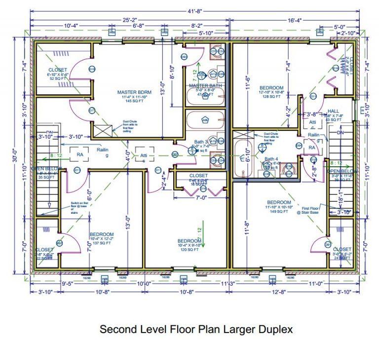 Second Level Floor Plan - Larger Duplex - Delacroix Plantation Townhomes